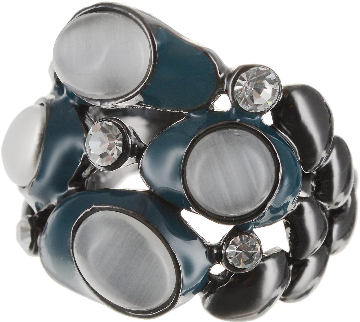 Кольцо Art-Silver, цвет: антрацитовый, серый, темно-бирюзовый. 066762-904-586. Размер 19Коктейльное кольцоВеликолепное кольцо Art-Silver изготовлено из бижутерного сплава. Изделие дополнено цирконами, натуральными камнями кошачий глаз и вставками из эмали.Стильное кольцо придаст вашему образу изюминку и подчеркнет индивидуальность.