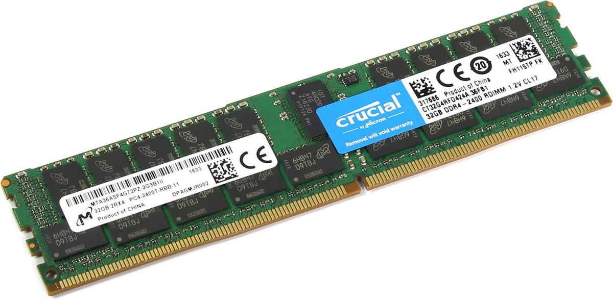 Crucial ECC Reg DDR4 32GB 2400МГц модуль оперативной памятиCT32G4RFD424AМодуль оперативной памяти Crucial CT32G4RFD424A прекрасно подойдет для серверов, которые нуждаются в оперативной памяти с высокой производительностью. По сравнению с DDR3, оперативная память DDR4 предлагает удвоенную пропускную способность, при этом потребляя меньше питания (1.2 В). Crucial CT32G4RFD424A совместима с процессорами Intel семейства Xeon Е3-1200 V3 и е5-2600 V3.DDR4 обеспечивает повышенную производительность, увеличенную емкость DIMM, улучшенную целостность данных и пониженное энергопотребление.В дополнение к оптимизированной производительности и более низкому энергопотреблению DDR4 также выполняет циклические проверки с избыточностью (CRC) для обеспечения повышенной надежности хранения данных, имеет встроенную функцию контроля нарушения четности для проверки целостности передачи команд и адресов, обеспечивает повышенную целостность сигнала и другие функции RAS.