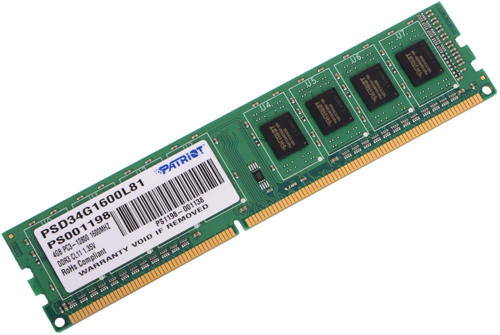 Patriot DDR3 DIMM 4Gb 1600МГц модуль оперативной памяти (PSD34G1600L81)PSD34G1600L81Небуферезированная память Patriot DDR3 PSD34G1600L81 предоставляет качество работы, надежность и производительность, требуемую для современных компьютеров сегодня. Этот модуль емкостью 4 ГБ, спроектирован для работы на частоте 1600 МГц PC3-12800 при таймингах CAS 11. Модуль собран при использовании специальных компонентов.