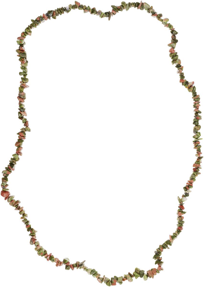 Бусы Револю Забава 2, цвет: зеленый. НУН-75-90-5НУН-75-90-5Пёстрый унакит - это разновидность гранита, одна из самых прелестных! Унакиту свойственны пятна трёх цветов: зелёного, розового и серого, поэтому каждый кабошон, каждая бусина унакита напоминает миниатюру цветущего розового сада! Окутайтесь цветением душистых садов - примерьте эту хорошенькую вещицу из прелестного унакита!