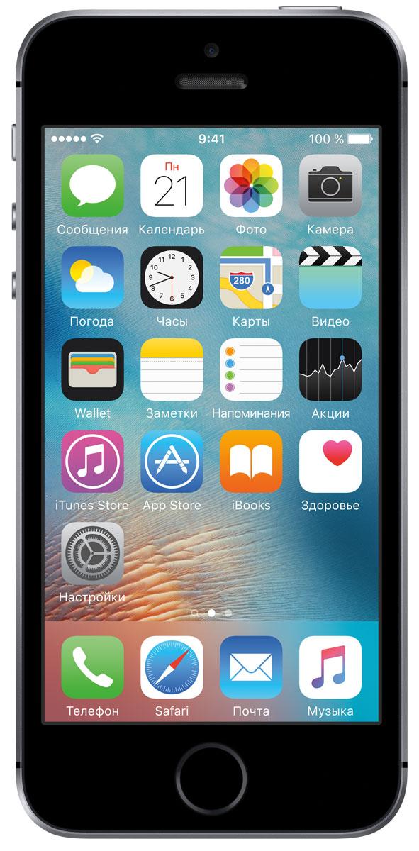 Apple iPhone SE 128GB, Space GreyMP862RU/AApple iPhone SE - самый мощный 4-дюймовый смартфон в истории. Корпус лёгкого, компактного и удобного устройства сделан из гладкого матированного алюминия. На великолепном 4-дюймовом дисплее Retina всё выглядит невероятно чётко и ярко. А завершают картину матовые скошенные края и логотип из нержавеющей стали. В основе iPhone SE лежит A9 - тот же передовой процессор, что установлен на iPhone 6s. Его 64-битная архитектура уровня настольных компьютеров гарантирует потрясающую скорость работы и отклика. А графика уровня игровых консолей полностью погружает в мир любимых игр и приложений. Этот мощный процессор просто создан для максимальной производительности. Сопроцессор движения M9 встроен непосредственно в процессор A9 и напрямую взаимодействует с компасом, гироскопом и акселерометром. Это расширяет возможности по сбору фитнес-данных - например, количества шагов и пройденного расстояния. Включить Siri также стало намного проще, вам даже не...