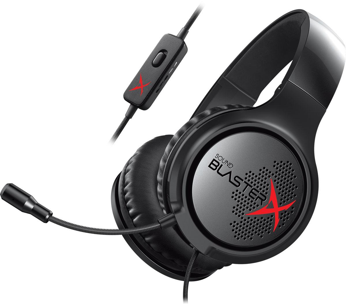 Creative Sound BlasterX H3, Black наушники70GH034000000Гарнитура Creative Sound BlasterX H3 создана для обеспечения портативности и комфорта. Легкая и комфортная портативная аналоговая игровая гарнитура. Просто сложите гарнитуру и отправьтесь покорять вершины киберспорта. Гарнитура Sound BlasterX H3 рассчитана на самые жесткие условиям эксплуатации. Она выполнена из прочной противоударной пластиковой конструкции, которая достаточно жесткая, чтобы выдерживать удары и толчки во время путешествий. Сложите чашки наушников, чтобы гарнитура занимала минимум места в вашем рюкзаке, в который надо еще вместить клавиатуру, мышь и коврик. Амбушюры гарнитуры Creative Sound BlasterX H3 из стильной искусственной кожи, помогут вам сосредоточиться на игровом процессе на протяжении всего дня и не отвлекаться ни на какие мелочи. И не важно, носите вы очки или нет - теперь вы можете окунуться в игровой процесс на много часов без намека на усталость. Гарнитура Sound BlasterX H3 оснащена чувствительными...