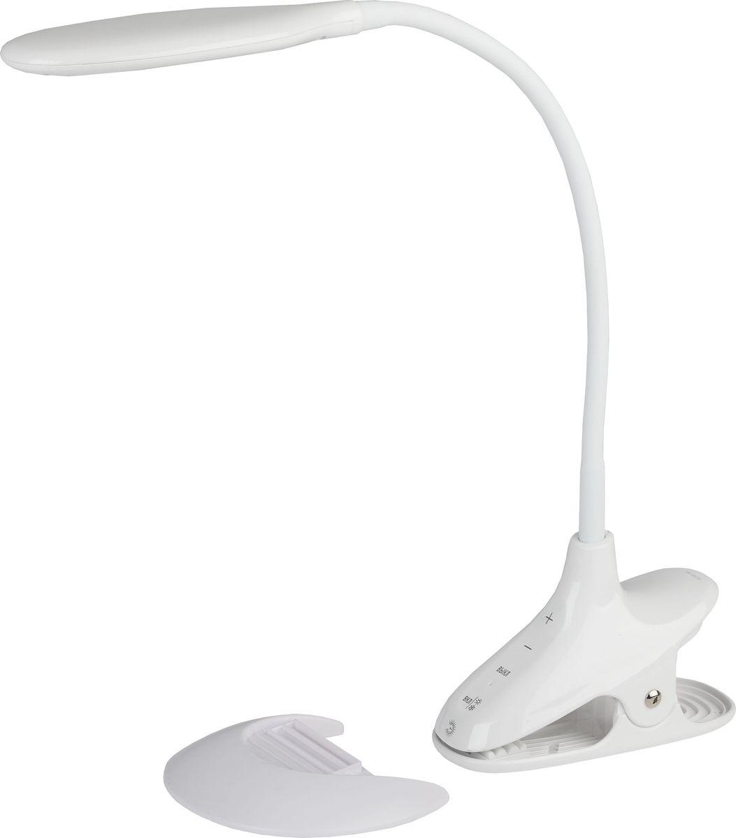Настольный светильник ЭРА, цвет: белый. NLED-454-9W-WNLED-454-9W-WСветильник со светодиодами (LED) в качестве источников света, которые экономят до 90% электроэнергии и не требуют замены на протяжении всего срока службы светильника. Два варианта крепления: модель на прищепке со съемной вставкой-основанием. Может быть использована как светильник на основании и как прищепка. Сенсорный переключатель на основании. Выбор цветовой температуры - 3 цвета: 3000К, 4500К, 6000К. Пятиступенчатый диммер для регулировки яркости. Гибкая стойка.