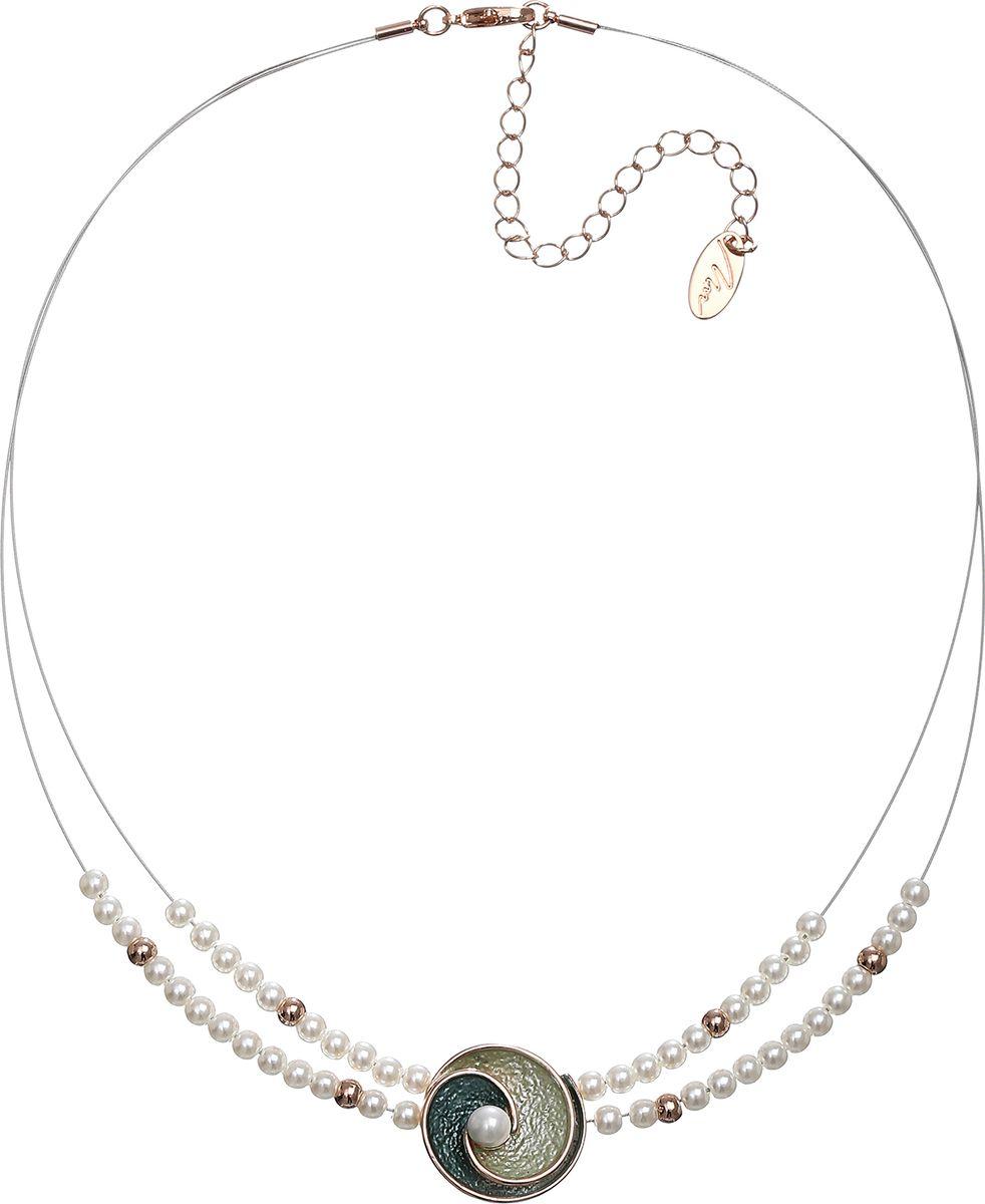 Колье Модные истории, цвет: золотистый. 12/105912/1059Короткое ожерелье на бижутерной леске декорировано жемчугом, подвеска в виде ракушки , покрытая цветной эмалью с жемчужиной , Застежка -карабин. Удлинитель - 7,5 см.