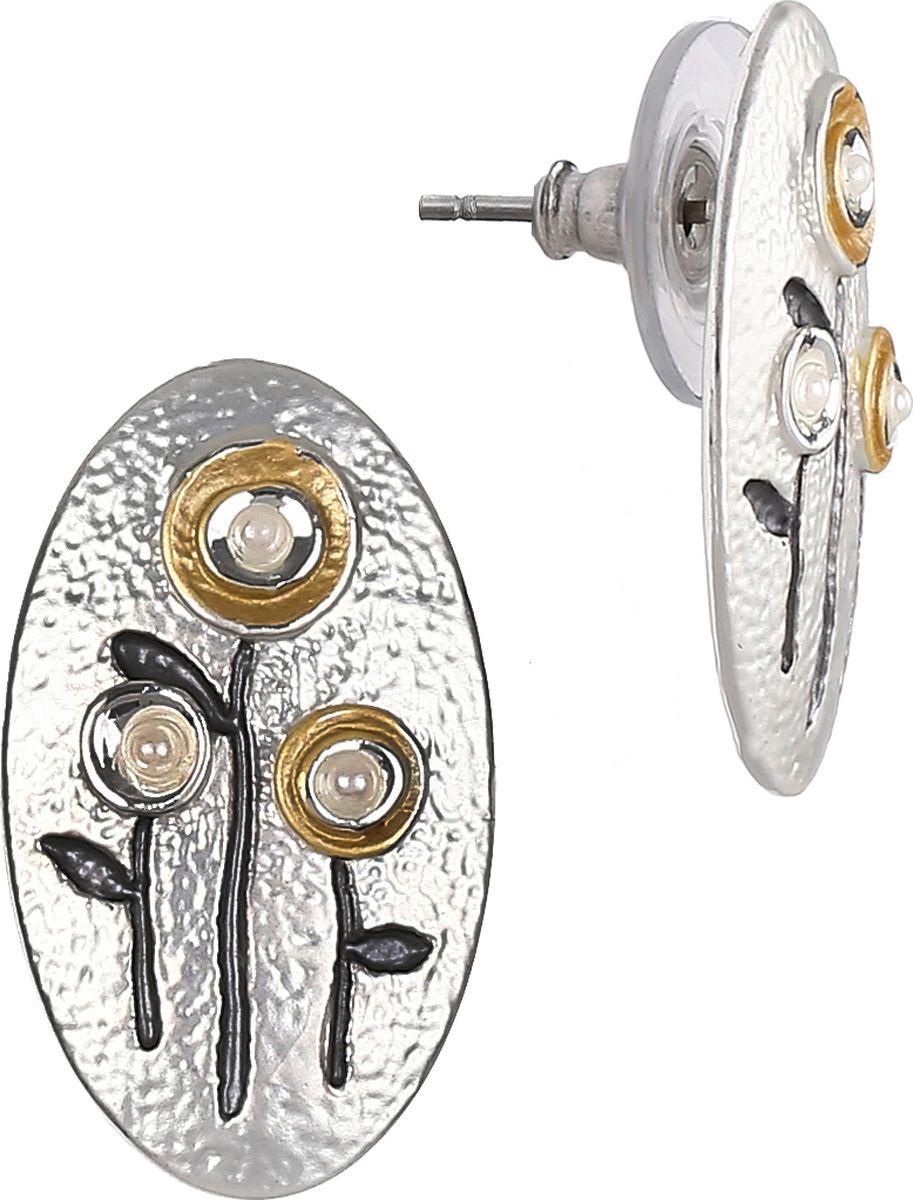 Серьги Модные истории, цвет: серебристый. 15/0518Пуссеты (гвоздики)Серьги выполнены из бижутерийного сплава с гальваническим покрытием из серебра в виде овала с рисунком цветов. Замок - гвоздик.