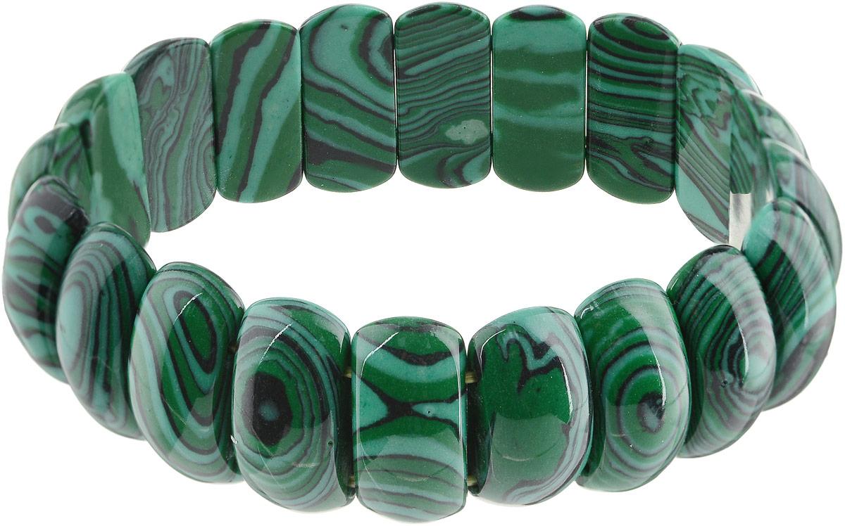 Браслет Револю Лилу, цвет: зеленый. бИМХ-3(20-10)-18-1Глидерный браслетБраслет из имитации малахита на резинке. Ширина браслета 15 мм, минимальный размер изделия 18. Вот это да! Прелестный браслет из дорогой имитации малахита так ярок и красив, что сразу привлекает внимание необычным цветом и удивительной расцветкой! Посмотрите - пластиночки покрыты концентрическим узором, напоминающим прелестные разводы самородков малахита - словно каждая пластиночка выточена из самородка, а не из сплошной залегающей породы. Самородки встречались более редко, и узор на них, как правило, был более ярким и оригинальным - именно