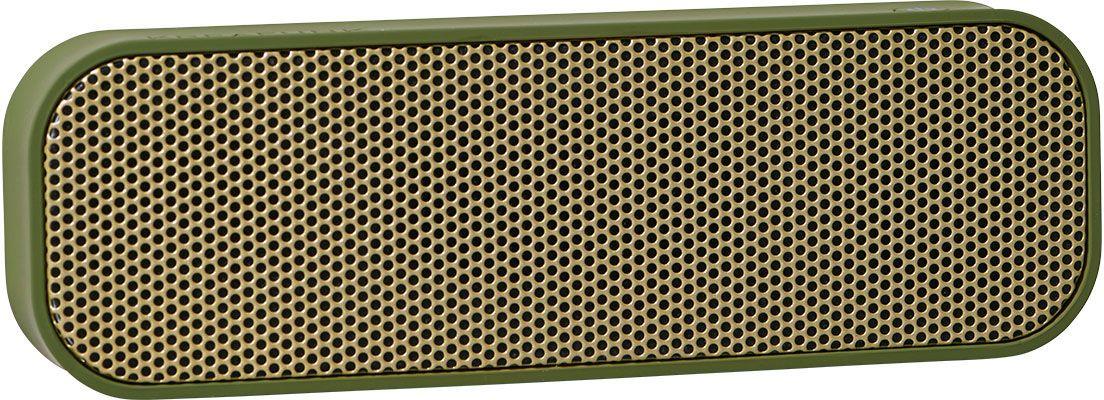 Kreafunk aGROOVE, Army беспроводная портативная колонкаKfdz58Легкая беспроводная колонка со встроенным аккумулятором. Подключается к смартфону через Bluetooth или с помощью кабеля (mini-jack), который входит в комплект. Колонка также совместима с любым устройством, оснащенным Bluetooth-гарнитурой. Простой, лаконичный и стильный дизайн. Корпус колонки имеет покрытие soft touch, приятное на ощупь, а внутри встроен микрофон для совершения hands free звонков. Благодаря компактному размеру aGROOVE легко брать с собой, а качественные компоненты дают чистый и насыщенный звук. Время работы без подзарядки – до 20 часов (при 80% громкости). Поставляется в стильной деревянной коробке, которую украшают слова известного американского радиоведущего Джорджа Еллинека: «История человечества – это история его песен». Технические характеристики: Встроенный аккумулятор (Li-ion) 500 мA/ч Bluetooth 3.0 EDR standard stereo technique Напряжение при зарядке: DC-5.0В – USB-Кабель. Зарядный ток: 1-2 A (Max). Рабочее напряжение: 3.7-4.2В ...