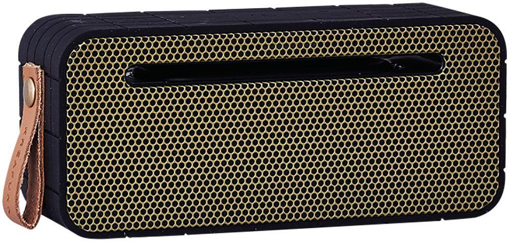 Kreafunk aMOVE, Black беспроводная портативная колонкаKfng62aMOVE – компактная беспроводная колонка в стильном ретро-дизайне. Подключается к смартфону через Bluetooth или с помощью кабеля (mini-jack), который входит в комплект. Колонка способна работать до 20 часов без подзарядки (при 80% громкости), а благодаря встроенному микрофону с системой hands free можно принимать звонки. Корпус имеет нескользящее прорезиненное покрытие, что придает ему дополнительную устойчивость. aMOVE компактная и легкая, ее можно брать с собой на пляж, пикник, в поход или в путешествие. Колонку также можно использовать в качестве зарядного устройства. Качественное воспроизведение звука, простота эксплуатации и лаконичный дизайн не оставят равнодушными всех ценителей прекрасного. Поставляется в красивой деревянной коробке, которую украшают слова из песни Боба Марли: «Одна хорошая вещь о музыке, когда она бьет по вам, вы не чувствуете боли». Технические характеристики: Bluetooth 4.0 EDR + CSR Standard stereo technique Встроенный дополнительный...