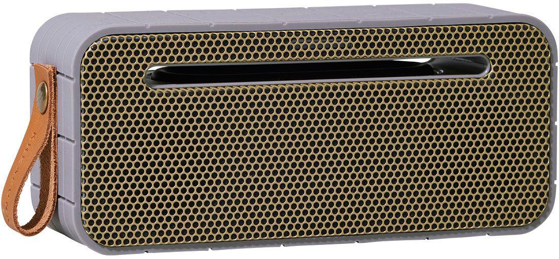 Kreafunk aMOVE, Grey беспроводная портативная колонкаKfng69aMOVE – компактная беспроводная колонка в стильном ретро-дизайне. Подключается к смартфону через Bluetooth или с помощью кабеля (mini-jack), который входит в комплект. Колонка способна работать до 20 часов без подзарядки (при 80% громкости), а благодаря встроенному микрофону с системой hands free можно принимать звонки. Корпус имеет нескользящее прорезиненное покрытие, что придает ему дополнительную устойчивость. aMOVE компактная и легкая, ее можно брать с собой на пляж, пикник, в поход или в путешествие. Колонку также можно использовать в качестве зарядного устройства. Качественное воспроизведение звука, простота эксплуатации и лаконичный дизайн не оставят равнодушными всех ценителей прекрасного. Поставляется в красивой деревянной коробке, которую украшают слова из песни Боба Марли: «Одна хорошая вещь о музыке, когда она бьет по вам, вы не чувствуете боли». Технические характеристики: Bluetooth 4.0 EDR + CSR Standard stereo technique Встроенный дополнительный...