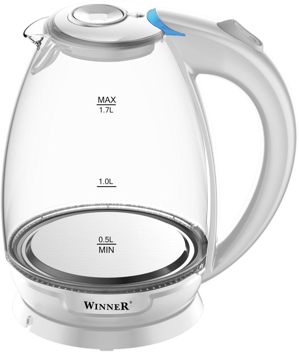 Winner Electronics WR-102 электрический чайникWR-1021,7л. Корпус: прозрачное стекло. Автоматическое и ручное выключение. Световой индикатор. Зашита от перегрева. Отсек для хранения шнура. Скрытый нагревательный элемент. 1850-2200Вт