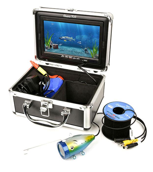 Подводная камера Фишка 703VE-f703Лидер линейки, 7 дюймовый дисплей, прикрытый козырьком обеспечивает отличное качество изображения. Удобный кейс, куда помещаются все элементы прибора, не только позволяет с легкостью транспортировать устройство, но и использовать его по прямому назначению, вынув из кейса только непосредственно камеру, дисплей интегрирован в крышку кейса, а остальные элементы удобно размещаются в отдельных отделениях. Сама камера обладает мощной подсветкой, включение которое контролирует пользователь. Функция записи: Да. Рабочая температура: от -20 °С до +60 °С. Дальность обзора (в чистой воде): от 1 до 3 метров. Встроенная подсветка: 12 светодиодов. Длина кабеля: 15 метров. Разрешение камеры: 800 ТВЛ. Усилие на разрыв: до 30 кг. Время автономной работы:до 12 часов. Ёмкость аккумулятора: внешний 4500 мА/ч.