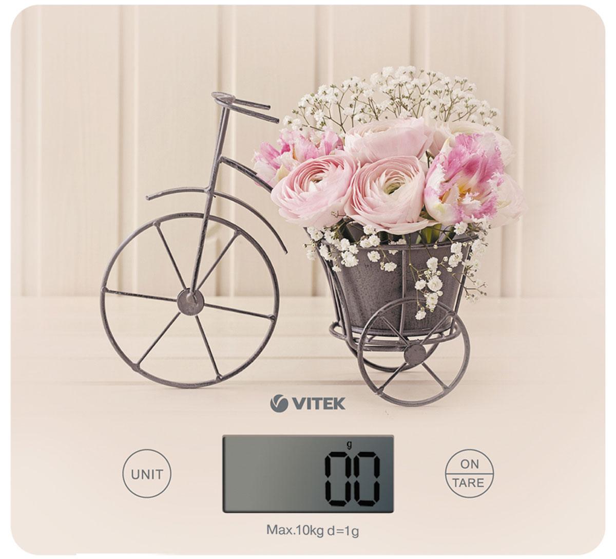 Vitek VT-8016(CA) весы кухонныеVT-8016(CA)Кухонные весы Vitek VT-8016(CA)–природное дыхание французской глубинки.Стильная кованая подставка с нежными цветами изображена на светлой платформе из закаленного стекла,такое сочетание отображаетодин из самых популярных стилей – Прованс.Преимущества весов: полезная и удобнаяфункция тарирования (определение веса тары), функция последовательного взвешивание. Максимальный весвзвешиваемых продуктов- 10 кг.Модель оснащена большим LCD дисплеем (58,0 x 26,0 мм),автоматической установкой 0 при использовании функции TARE, автоматическим отключением и обнулением, а также индикацией превышения допустимой нагрузки ииндикатором зарядки батареи.