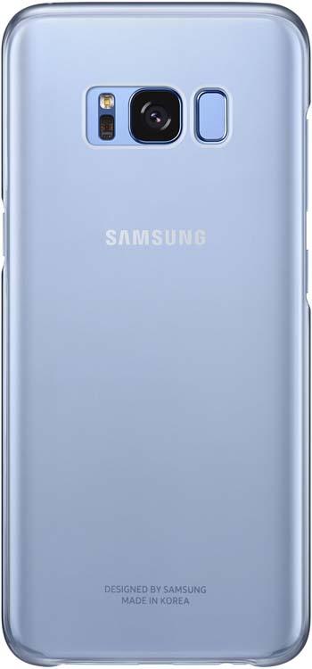 Samsung Clear Cover чехол для Galaxy S8, BlueEF-QG950CLEGRUОригинальный чехол обеспечит надежную защиту задней крышке иторцам устройства. Несильно увеличивает размеры смартфона. Оснащен необходимыми отверстиями под порты икамеру.