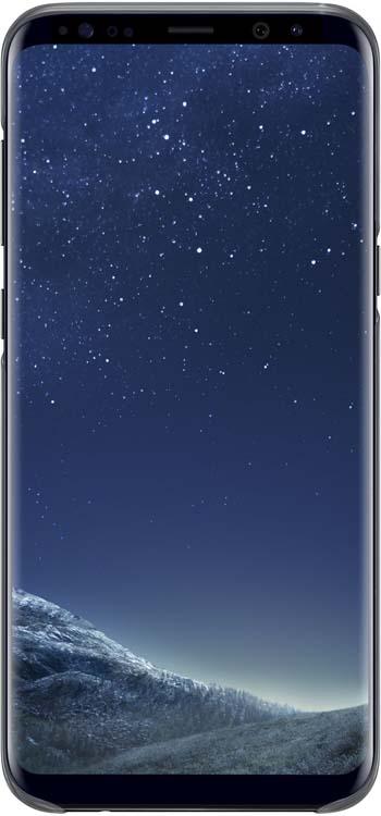 Samsung Clear Cover чехол для Galaxy S8+, BlackEF-QG955CBEGRUОригинальный чехол обеспечит надежную защиту задней крышке и торцам устройства. Не сильно увеличивает размеры смартфона. Оснащен необходимыми отверстиями под порты и камеру.