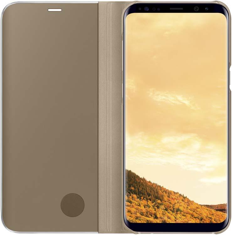 Samsung Clear View Standing чехол для Galaxy S8+, GoldEF-ZG955CFEGRUТонкий полупрозрачный чехол подчеркивает стиль и изящество смартфона. Аксессуар обеспечивает быстрый доступ к функциям — следите за информацией на экране, не открывая чехла. Сквозь прозрачную верхнюю крышку видны время, пропущенные вызовы, индикатор заряда. Флип-кейс отзывчиво реагирует на прикосновения — отвечайте на звонки одним легким движением. Чехол устойчив к появлению отпечатков пальцев — ваш смартфон всегда в аккуратном состоянии. Особое покрытие чехла защищает смартфон от повреждений, продлевая срок его службы.