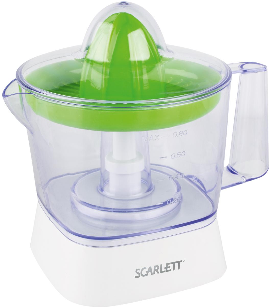 Scarlett SC-JE50C05, Green соковыжималкаSC-JE50C05Компактная соковыжималка Scarlett SC-JE50C05 не займёт много места на кухне. Её можно установить в любом удобном месте. Объём резервуара для сока составляет 800 мл. Резервуар съёмный, оснащён ручкой и носиком, поэтому его можно использовать для подачи сока на стол, наливания его в стаканы, а также для хранения. На стенки нанесена градуировка, помогающая понять, сколько сока находится в ёмкости. Соковыжималка работает в импульсном режиме, это обеспечивает особенную эффективность, позволяет выжать из каждого плода максимум сока.