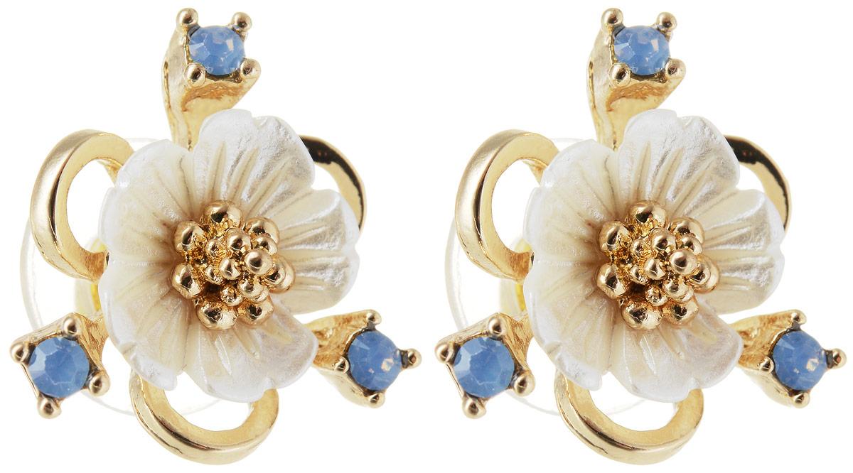 Серьги Taya, цвет: золотистый, синий. T-B-12818T-B-12818-EARR-GL.BLUEСерьги-гвоздики с заглушкой металл-пластик. Милые и нежные цветки из натурального перламутра с золотой серединкой и небесно-голубыми капельками-росинками.