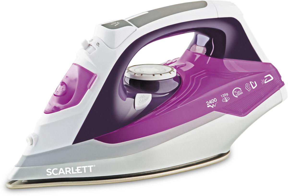Scarlett SC-SI30P05, Violet утюгSC-SI30P05Scarlett SC-SI30P05 - стильный современный утюг. Его ручка удобно лежит в ладони, с его помощью можно быстро и качественно погладить одежду и постельное бельё.Пользователь может гладить с использованием пара, чтобы справиться со складками, а если складки окажутся слишком жёсткими, он может воспользоваться мощным паровым ударом. Также утюг подходит для вертикального отпаривания, причём мощность отпаривания можно регулировать.Гладкая подошва SimplePro с антипригарным покрытием хорошо скользит по одежде и постельному белью вне зависимости от того, из каких материалов они изготовлены.В резервуар помещается до 380 мл воды, этого хватит для долгого глажения, и владельцу не придётся часто прерывать работу, чтобы долить воду в резервуар.
