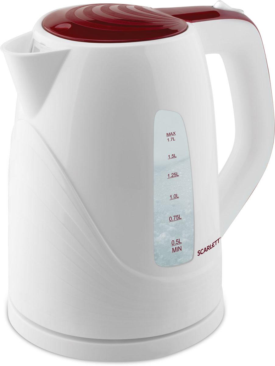 Scarlett SC-EK18P36, White Maroon электрический чайникSC-EK18P36Электрический чайник Scarlett SC-EK18P36 станет отличным дополнением к набору вашей мелкой бытовой техники для кухни. Среди явных преимуществ можно отметить безопасность использования и значительную экономию времени; вода в таких чайниках закипает за считанные минуты. Чайник выполнен из высокопрочного пластика и снабжен кнопкой для открывания крышки, скрытым нагревательным элементом и индикатором уровня воды. В приборе предусмотрена многоуровневая система защиты: чайник автоматически отключается при закипании и при недостаточном количестве воды в резервуаре.