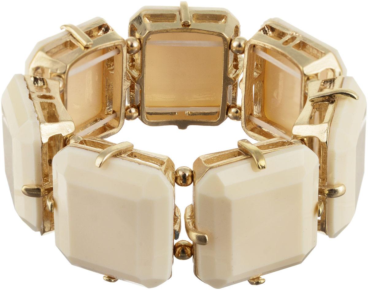 Браслет Taya, цвет: золотистый, бежевый. T-B-6274T-B-6274-BRAC-GL.BEIGEСтильный безразмерный браслет изготовлен из бижутерного сплава и крепится на эластичной резинке. Оформлена модель крупными бежевыми вставками.