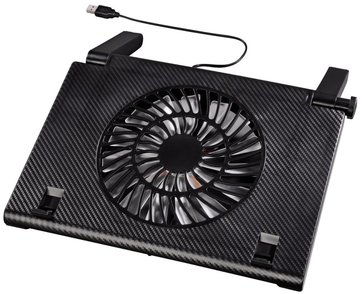 Hama H-54116 охлаждающая подставка для ноутбуков 15.6, Black54116Охлаждающая подставка Hama H-54116 предназначена для ноутбуков с диагональю экрана от 13,3 до 15,6 дюймов. Она имеет 10 позиций регулировки угла наклона, что позволяет комфортно работать с лэптопами. Подставка охлаждает ноутбук и обеспечивает оптимальную циркуляцию воздуха для предотвращения перегрева. Складные блокираторы надежно фиксируют устройство на подставке во время работы. Hama H-54116 оснащена малошумным вентилятором диметром 180 мм со светодиодной подсветкой голубого цвета. Прорезиненное основание обеспечивает хорошую устойчивость на различных поверхностях. Благодаря низкому энергопотреблению (270 мА) подставка экономно расходует заряд батареи ноутбука. Питание осуществляется через USB-разъем переносного компьютера. Уровень шума: 20 дБА Совместимые устройства: ноутбуки c диагональю экрана 34-40 см (13,3-15,6)