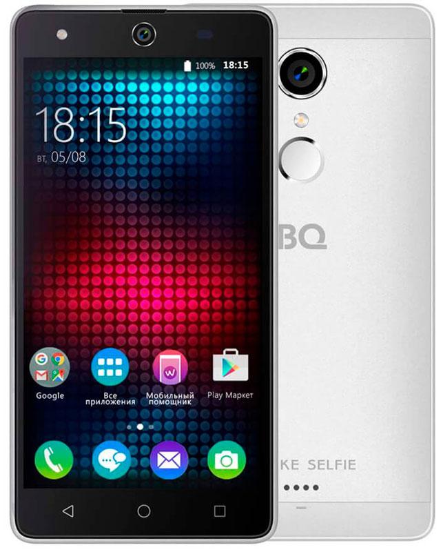 BQ 5050 Strike Selfie, Silver46611279Главная особенность BQ 5050 Strike Selfie - 13-мегапиксельная фронтальная камера со вспышкой и автофокусом, предназначенная для создания умопомрачительного качества селфи-фотографий, что, несомненно, порадует всех любителей селфи.Кроме этого смартфон работает на базе современной операционной системы Android 6.0. Благодаря работе этой версии ОС смартфон BQS-5050Strike Selfie справляется с мультизадачными приложениями намного быстрее своих конкурентов. Устройство оснащено современным четырехъядерным процессором MediaTek MT6580. Он без труда справится с самыми сложными задачами, легко откроет тяжелые игры и ресурсоёмкие приложения. Общение в социальных сетях и мессенджерах, серфинг любимых развлекательных сайтов с BS 5050 Strike Selfie будет только в радость. Оперативная память составляет 1 ГБ, встроенная память для хранения любимых фильмов, формата HD, игр, книг и фотографий - 8 ГБ. Кроме этого память устройства можно расширить до 64 ГБ с помощью карты памяти формата microSD, поэтому у вас не будет проблем с хранением нужного контента.Стильный алюминиевый корпус смартфона является прекрасным дизайнерским решением, которое придаст индивидуальности владельцу BQ 5050Strike Selfie.Смартфон сертифицирован EAC и имеет русифицированный интерфейс меню и Руководство пользователя