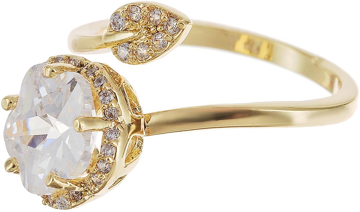 Кольцо Bradex Цветок, цвет: золотой. AS 0104AS 0104Оригинальное кольцо Цветок поможет вам постоянно помнить о собственной женской уникальности. Эффектное спиралевидное кольцо, плавно изгибаясь, обвивает палец, что делает украшение подходящим для фаланги любого размера. Нежный и хрупкий цветок из крупного циркона, обрамленный крошечными кристаллами по краям, притягивает к себе не только лучи света, но и взгляды окружающих. Кокетливый листок с семью миниатюрными циркониевыми вставками навевает позитивное настроение.