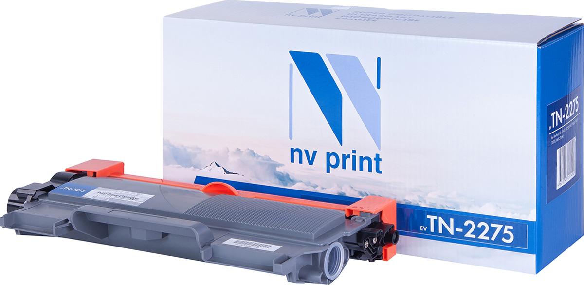 NV Print NV-TN2275, Black тонер-картридж для Brother HL-2240R/2240DR/2240NDR/DCP-7060DR/7065DNR/MFC-7360NR/7860DWRNV-TN2275Совместимый лазерный картридж NV Print NV-TN2275 для печатающих устройств Brother - это альтернатива приобретению оригинальных расходных материалов. При этом качество печати остается высоким. Картридж обеспечивает повышенную чёткость чёрного текста и плавность переходов оттенков серого цвета и полутонов, позволяет отображать мельчайшие детали изображения.Лазерные принтеры, копировальные аппараты и МФУ являются более выгодными в печати, чем струйные устройства, так как лазерных картриджей хватает на значительно большее количество отпечатков, чем обычных. Для печати в данном случае используются не чернила, а тонер.