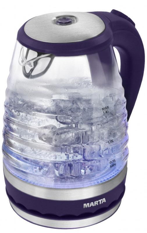 Marta MT-1085, Dark Purple электрический чайникMT-1085Очень легкий и прочный стеклянный чайник Marta MT-1085 с голубой внутренней подсветкой в элегантном прозрачном корпусе из закаленного стекла. Чайник имеет повышенную мощность для скорейшего закипания и съемный фильтр в носике для дополнительной фильтрации. Прозрачный корпус из закаленного стекла сохраняет природный вкус и натуральные свойства воды, не имеет запаха и препятствует образованию накипи. Стеклянный чайник очень легок и при этом обладает высочайшей прочностью. С помощью подсветки легко контролируется работа чайника. Внутренняя подсветка обеспечивает игру световых бликов на кухне и дарит отличное настроение. Плоское дно внутри чайника очень функционально - легко моется, противостоит накипи, не ржавеет, не корродирует, а значит, обеспечивает максимально долгий срок службы чайника. Возможность вращения чайника на 360°. Крайне важная и быстро ставшая привычной функция, обеспечивающая исключительное удобство и...