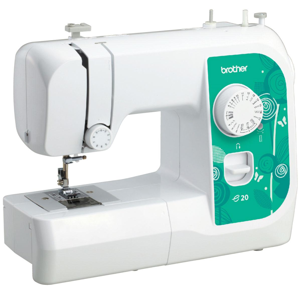 Brother e20 швейная машинаe20Машина Brother e20 идеально подходит для выполнения основных швейных операций при изготовлении и ремонте одежды. Небольшое количество строчек, в том числе для обработки края, возможность работы с различными материалам делают эту машинку привлекательной для начинающих. Горизонтальный челнок и 6-и сегментная рейка-транспортер обеспечивают качественное шитье различных видов ткани. Легкий и плавный ход педали позволяет точно регулировать скорость машины.