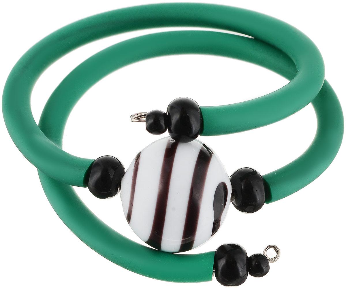 Браслет Зебра. Муранское стекло, каучук зеленого цвета, ручная работа. Murano, Италия (Венеция)42-616-2Браслет Зебра. Муранское стекло, каучук зеленого цвета, ручная работа. Murano, Италия (Венеция). Размер: диаметр 6 см, браслет эластичный подойдет на любой размер. Каждое изделие из муранского стекла уникально и может незначительно отличаться от того, что вы видите на фотографии.