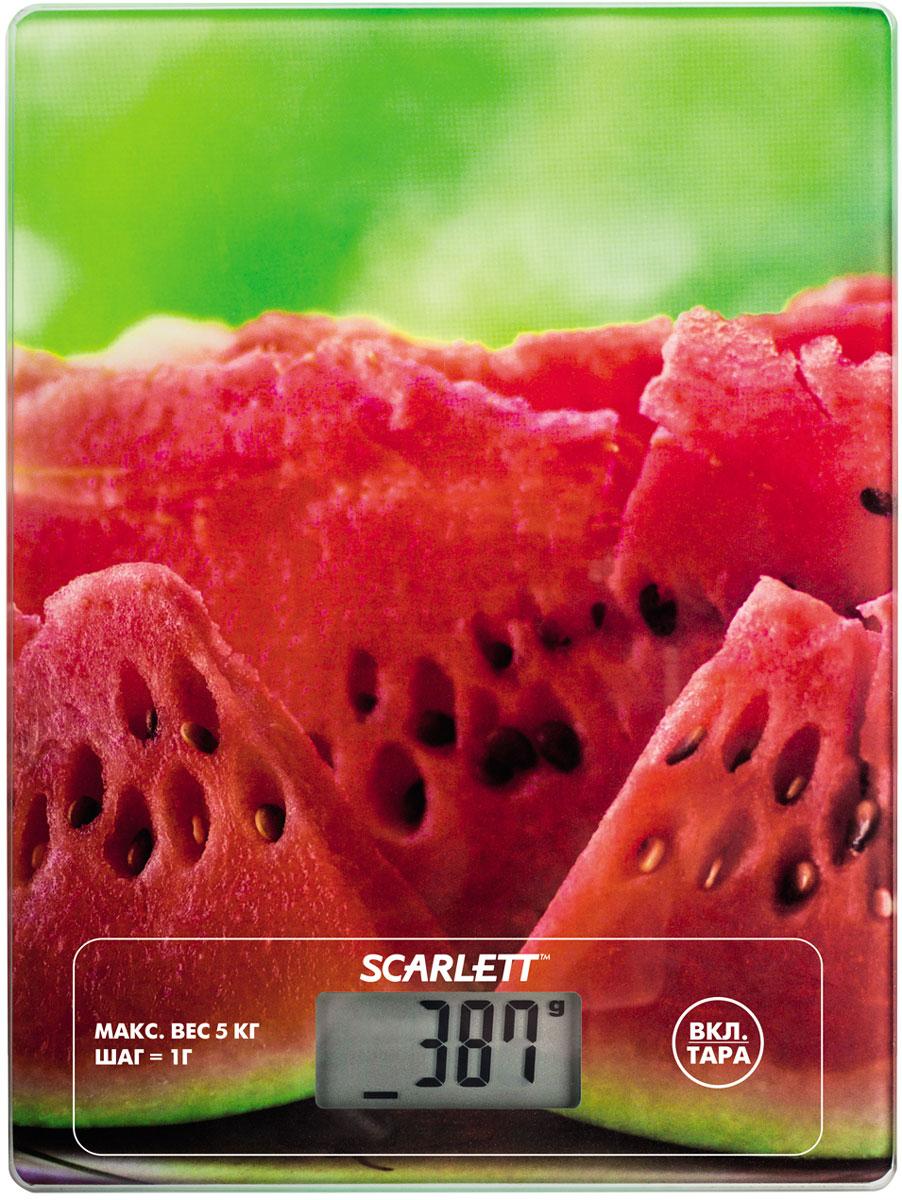 Scarlett SC-KS57P12, Watermelon кухонные весыSC-KS57P12Кухонные электронные весы Scarlett SC-KS57P12 - незаменимые помощники современной хозяйки. Они помогут точно взвесить любые продукты и ингредиенты. Кроме того, позволят людям, соблюдающим диету, контролировать количество съедаемой пищи и размеры порций. Предназначены для взвешивания продуктов с точностью измерения 1 грамм. Ультратонкая платформа из ударопрочного термостойкого стекла – 0,4 см Кнопка переключения единиц измерения на задней панели Сенсорная панель управления Удобство очистки
