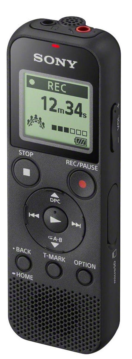 Sony ICD-PX370, Black диктофонICDPX370.CE7Цифровой диктофон Sony ICD-PX370 позволяет вести запись собраний, лекций и других мероприятий в высоком качестве. Благодаря простому интерфейсу можно быстро найти старые записи, а наличие встроенного разъема USB позволяет подключать диктофон к ПК. Функция автоматической записи голоса снижает фоновые шумы, делая голос четче и разборчивей.Быстрая и простая запись звука в формате MP3Длительный срок работы от аккумулятора обеспечивает до 57 часов записи (в режиме стерео, MP3, 128 кбит/с)Оптимизированная запись голоса подавляет внешний шум и делает звук чищеФункция Выбор сюжета оптимизирует настройки под условия записи (музыка, собрания и т. п.)Объем памяти составляет 4 ГБ и вмещает запись продолжительностью до 59 часов и 35 минут (в режиме стерео, MP3, 128 кбит/с)