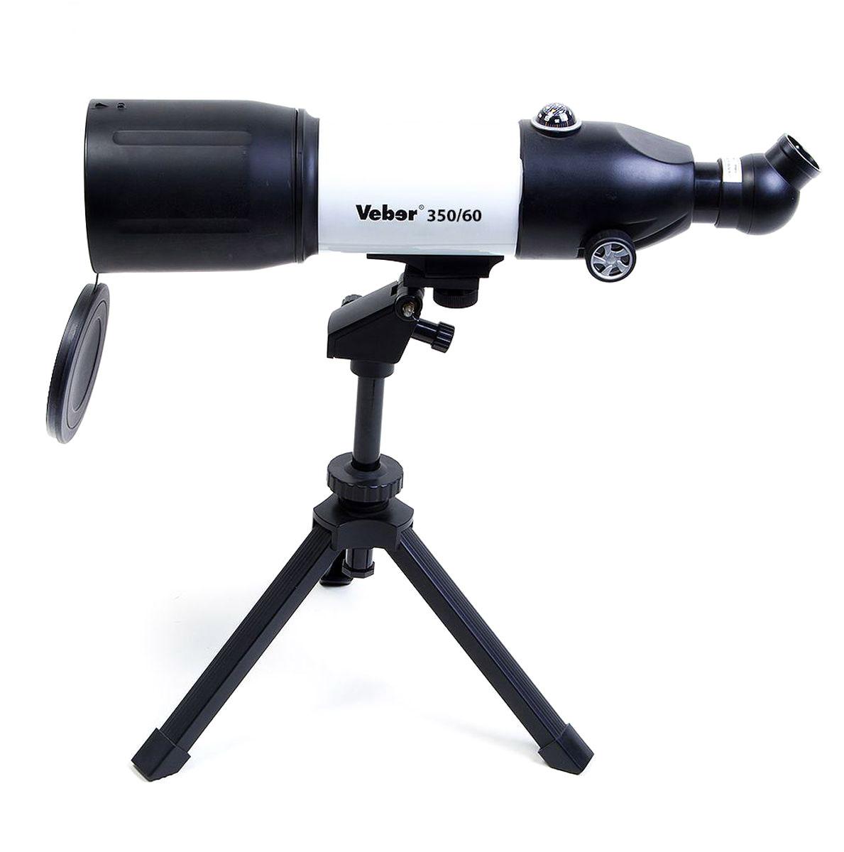 Veber 350x60 Аз телескоп21181Veber 350x60 Аз - компактный телескоп-рефрактор. Удобен как для домашних астрономических (и не только) наблюдений, так и для вылазок на природу. Его длина всего 45 см, он легкий и компактный. При этом телескоп вовсе не детская игрушка! Его ахроматическая оптика дает хорошее, четкое, резкое изображение без окрашенности по краям поля зрения. С набором окуляров, входящих в комплект, можно получить увеличение от 17,5х (ближняя точка фокусировки около 5 м) до 116,4х. Диаметр объектива — 70 мм. Об окулярной части следует сказать особо: она расположена под углом 45° к оси прибора, и может поворачиваться вокруг своей оси на 360° (8 положений). Все это делает очень комфортным наблюдение — как из положения сидя, так и из положения стоя. При этом изображение не зеркальное, где лево и право поменялись местами, а прямое! (в конструкции используется призма Шмидта с крышей). Таким образом, этот телескоп можно использовать не только по прямому назначению, но и как...
