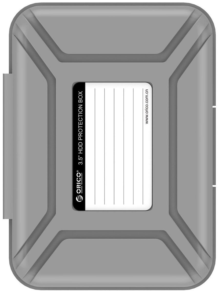 Orico PHX-35, Gray чехол для жесткого дискаORICO PHX-35-GYКейс Orico PHX-35 специально создан для защиты 3,5-дюймовых жестких дисков. Надежный материал кейса защитит диск от влаги и статического электричества, а благодаря дополнительным ребрам жесткости, кейс гарантирует хорошую защиту от ударов. С помощью специальной этикетки на крышке можно легко и просто сделать пометки на кейсе.