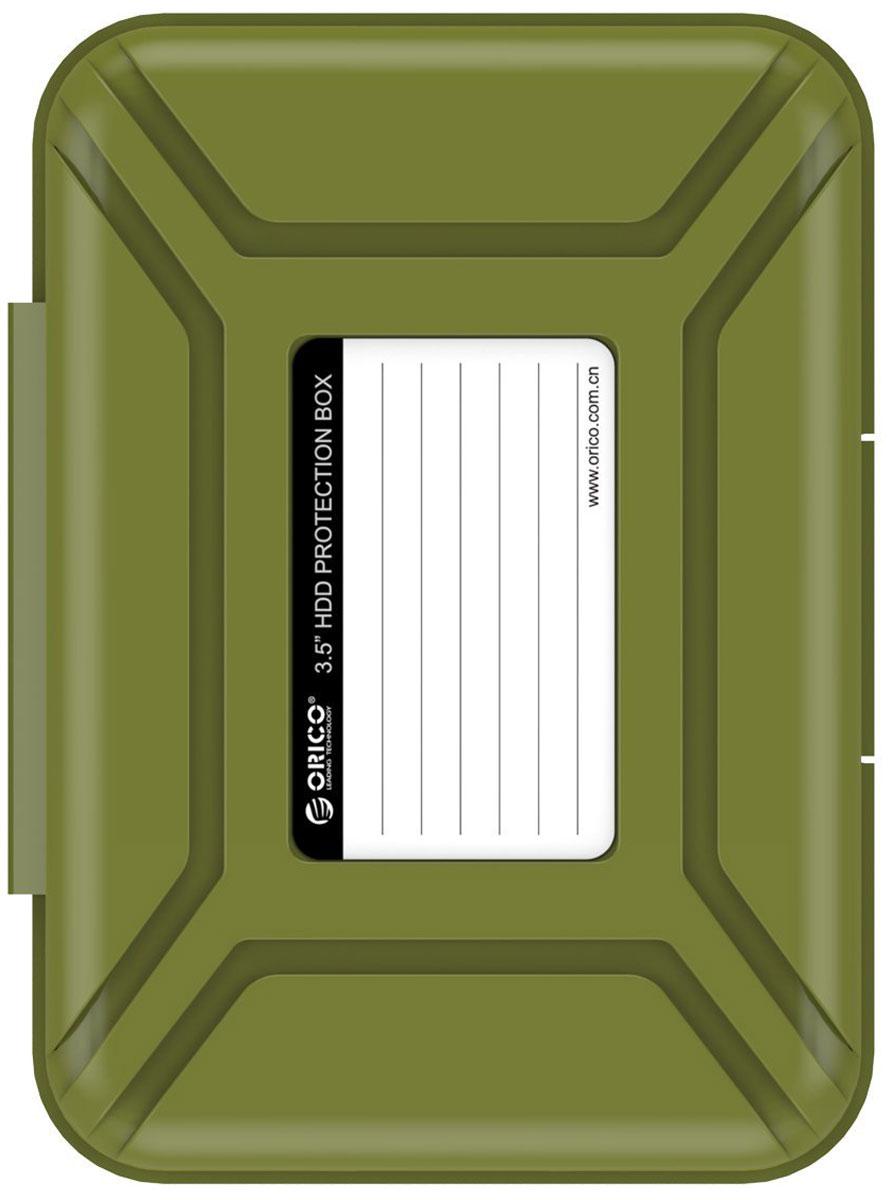 Orico PHX-35, Green чехол для жесткого дискаORICO PHX-35-SNКейс Orico PHX-35 специально создан для защиты 3,5-дюймовых жестких дисков. Надежный материал кейса защитит диск от влаги и статического электричества, а благодаря дополнительным ребрам жесткости, кейс гарантирует хорошую защиту от ударов. С помощью специальной этикетки на крышке можно легко и просто сделать пометки на кейсе.