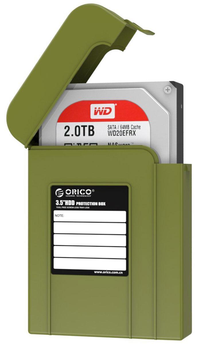 Orico PHI-35, Green чехол для жесткого дискаORICO PHI-35-SNКейс Orico PHI-35 надежно защитит жесткий диск от пыли, влаги и прочих капризов окружающей среды. Благодаря дополнительным ребрам жесткости и крышке с защелкой, жесткий диск будет надежно защищен от падений и не выпадет из кейса при ударе. С помощью специальной этикетки можно легко и просто сделать пометки на кейсе.