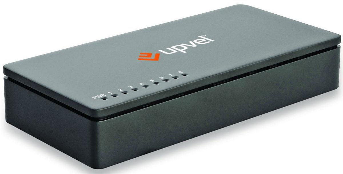 UPVEL US-8F, Black коммутаторUS-8F_BlackВосьми портовый коммутатор UPVEL US-8F позволяет объединить в одну сеть несколько компьютеров и передавать данные со скоростью до 100 Мбит/с. Коммутатор поддерживает функцию Auto-MDIX, полудуплексный и дуплексный режимы передачи данных и технологию Plug & Play. Стандарт: IEEE 802.3 10Base-T / IEEE 802.3u 100Base-TX / IEEE 802.3x Flow Control Кабели: Ethernet: категория 5, длина до 100 метров / Fast Ethernet: категория 5, 5e или 6, длина до 100 метров Скорость передачи данных: Ethernet: 10 / 20 Мбит/с (полудуплексный / дуплексный режим) /Fast Ethernet: 100 / 200 Мбит/с (полудуплексный / дуплексный режим) Пропускная способность коммутационной матрицы: 1,6 Гбит/с Топология: Звезда Таблица коммутации: 2000 записей для каждого подключенного устройства Буферная память: 512 Кбайт для каждого подключенного устройства