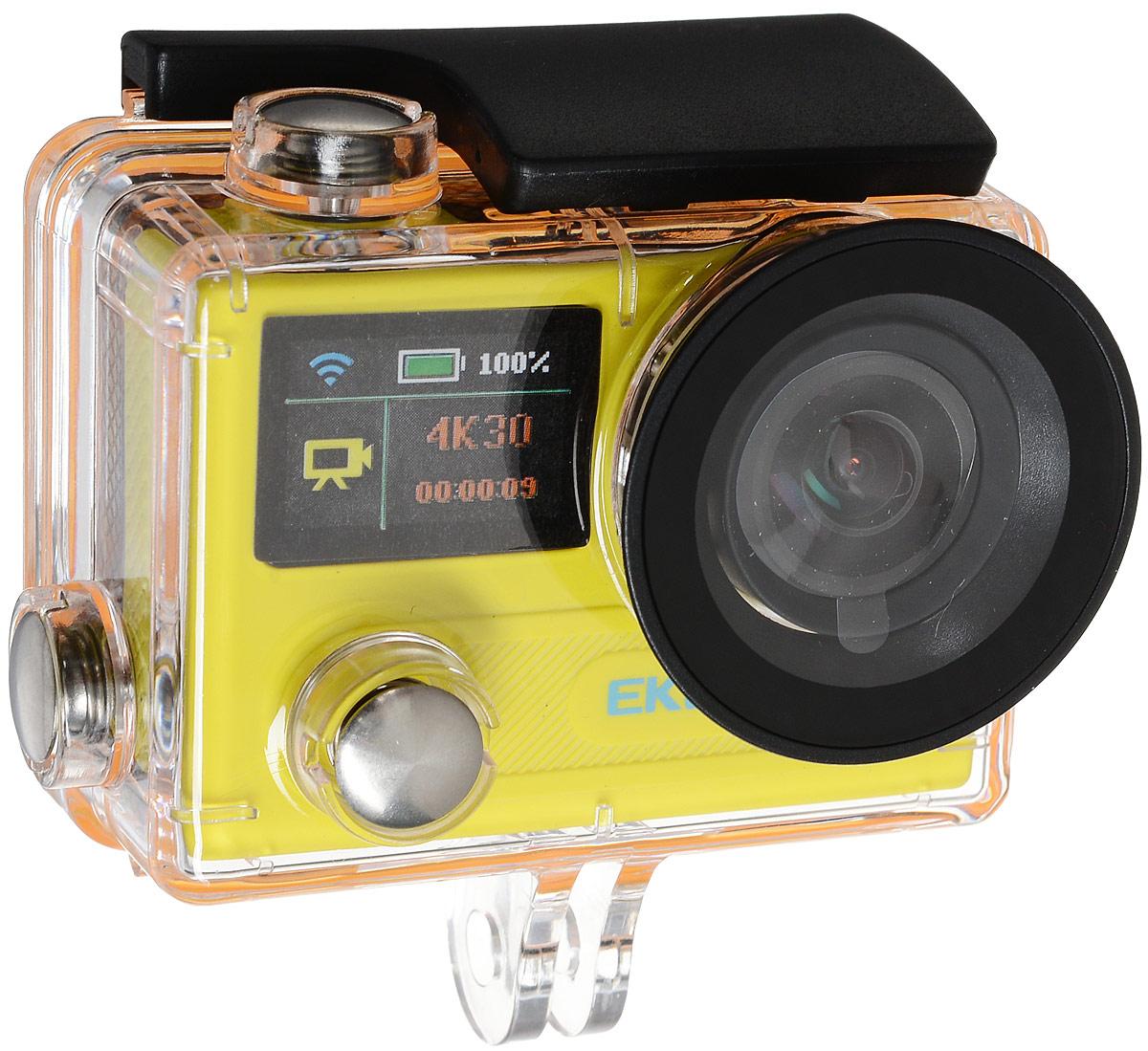 Eken H8R Ultra HD, Yellow экшн-камераH8R YELLOWЭкшн-камера Eken H8R Ultra HD позволяет записывать видео с разрешением 4К и очень плавным изображением до 30 кадров в секунду. Камера имеет два дисплея: 2 TFT LCD основной экран и 0.95 OLED экран статуса (уровень заряда батареи, подключение к WiFi, режим съемки и длительность записи). Эта модель сделана для любителей спорта на улице, подводного плавания, скейтбординга, скай-дайвинга, скалолазания, бега или охоты. Снимайте с руки, на велосипеде, в машине и где угодно. По сравнению с предыдущими версиями, в Eken H8R Ultra HD вы найдете уменьшенные размеры корпуса, увеличенный до 2-х дюймов экран, невероятную оптику и фантастическое разрешение изображения при съемке 30 кадров в секунду! Управляйте вашей H8R на своем смартфоне или планшете. Приложение Ez iCam App позволяет работать с браузером и наблюдать все то, что видит ваша камера. В комплекте с камерой идет пульт ДУ работающий на частоте 2,4 Ггц. Он позволяет начинать и заканчивать съемку удаленно.