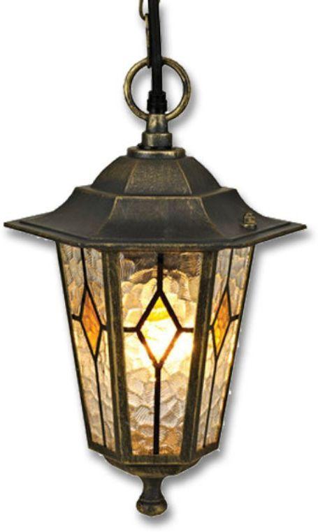 Светильник уличный Duwi Geneva, цвет: черное золото, 930 мм. 24164 524164 5Подвесной потолочный светильник на длинной цепочке - один из двух светильников серии эконом-класса Женева, выполненных в черном цвете с золотым напылением. Особый шарм светильникам придают оригинальные витражные стекла.