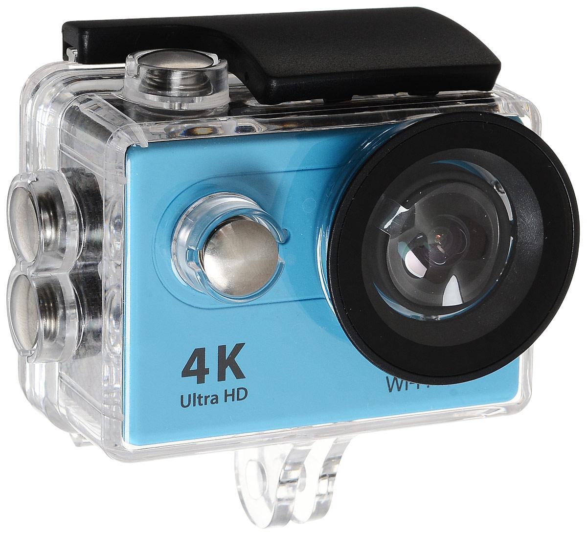 Eken H9R Ultra HD, Blue экшн-камераH9R BLUEЭкшн-камера Eken H9R Ultra HD позволяет записывать видео с разрешением 4К и очень плавным изображением до 30 кадров в секунду. Камера оснащена 2 TFT LCD экраном. Эта модель сделана для любителей спорта на улице, подводного плавания, скейтбординга, скай-дайвинга, скалолазания, бега или охоты. Снимайте с руки, на велосипеде, в машине и где угодно. По сравнению с предыдущими версиями, в Eken H9R Ultra HD вы найдете уменьшенные размеры корпуса, увеличенный до 2-х дюймов экран, невероятную оптику и фантастическое разрешение изображения при съемке 30 кадров в секунду! Управляйте вашей H9R на своем смартфоне или планшете. Приложение Ez iCam App позволяет работать с браузером и наблюдать все то, что видит ваша камера. В комплекте с камерой идет пульт ДУ работающий на частоте 2,4 ГГц. Он позволяет начинать и заканчивать съемку удаленно.