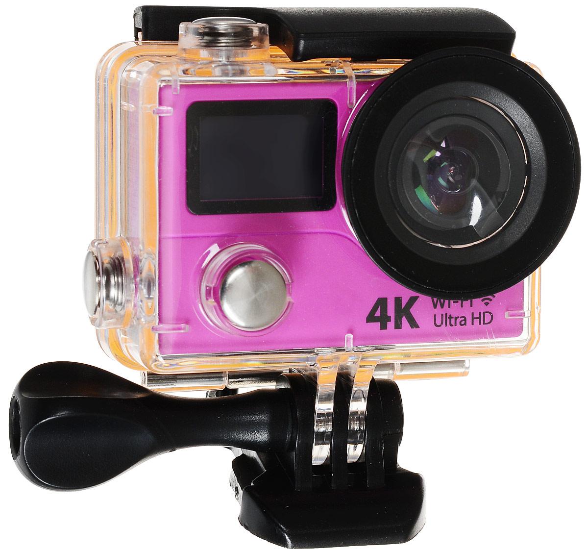 Eken H3R Ultra HD, Pink экшн-камераH3R/H8Rse_pinkЭкшн-камера Eken H3R Ultra HD позволяет записывать видео с разрешением 4К и очень плавным изображением до 25 кадров в секунду. Камера имеет два дисплея: 2 TFT LCD основной экран и 0.95 OLED экран статуса (уровень заряда батареи, подключение к WiFi, режим съемки и длительность записи). Эта модель сделана для любителей спорта на улице, подводного плавания, скейтбординга, скай-дайвинга, скалолазания, бега или охоты. Снимайте с руки, на велосипеде, в машине и где угодно. По сравнению с предыдущими версиями, в Eken H3R Ultra HD вы найдете уменьшенные размеры корпуса, увеличенный до 2-х дюймов экран, невероятную оптику и фантастическое разрешение изображения при съемке 25 кадров в секунду! Управляйте вашей H3R на своем смартфоне или планшете. Приложение Ez iCam App позволяет работать с браузером и наблюдать все то, что видит ваша камера. В комплекте с камерой идет пульт ДУ работающий на частоте 2,4 ГГц. Он позволяет начинать и заканчивать съемку удаленно.