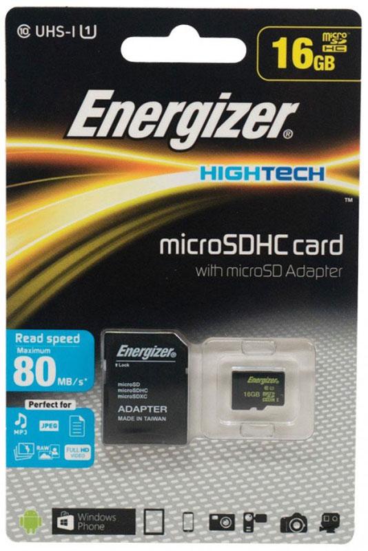 Energizer MicroSDHC Class10 UHS-I 16GB карта памяти с адаптеромFMDABH016AКарта памяти Energizer microSDHC идеально подходит для съемки видеороликов формата Full HD, серийной съемки и хранения файлов RAW. Благодаря повышенной скорости считывания и записи данная карта памяти позволяет пользователям в полную силу наслаждаться хост-устройствами, такими как MP3-плееры, компактные или псевдозеркальные фотоаппараты, видеокамеры или экшн-камеры для спорта. В комплекте адаптер для SD, позволяющий использовать карту памяти в компьютерах.