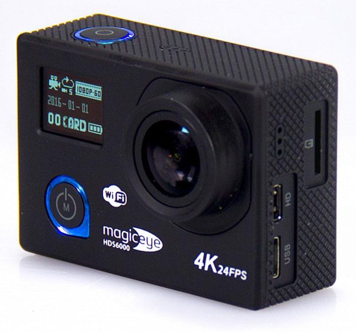 """Gmini MagicEye HDS6000, Black экшн-камераAK-10000014Портативная экшн-камера с возможностью записи в формате FullHD 1080p с частотой 60 кадров в секунду, 2"""" LCD дисплеем, фронтальным информационным OLED дисплеем, управлением съемкой по WiFi и обновленным чипсетом. Сенсор и объектив Сенсор Panasonic MN34120PA Широкоугольный объектив с углом обзора 170?. Обновленный процессор Novatek NTK96660 отличается высокой производительностью и низким энергопотреблением, благодаря чему MagicEye HDS6000 работает дольше и быстрее. Удаленное управление съемкой по WiFi с вашего смартфона или планшета под управлением iOS или Android. 2'' LCD дисплей для просмотра записанных фрагментов и настроек. Избавит от необходимости иметь дополнительное устройство для просмотра видео. Поможет при настройке положения вашей экшн-камеры. Дополнительный OLED дисплей на передней части камеры выводит информацию о режиме съемки, дате и заряде аккумулятора. Технические характеристики Разрешение записываемого материала Видео: 2160P 24к/с,..."""