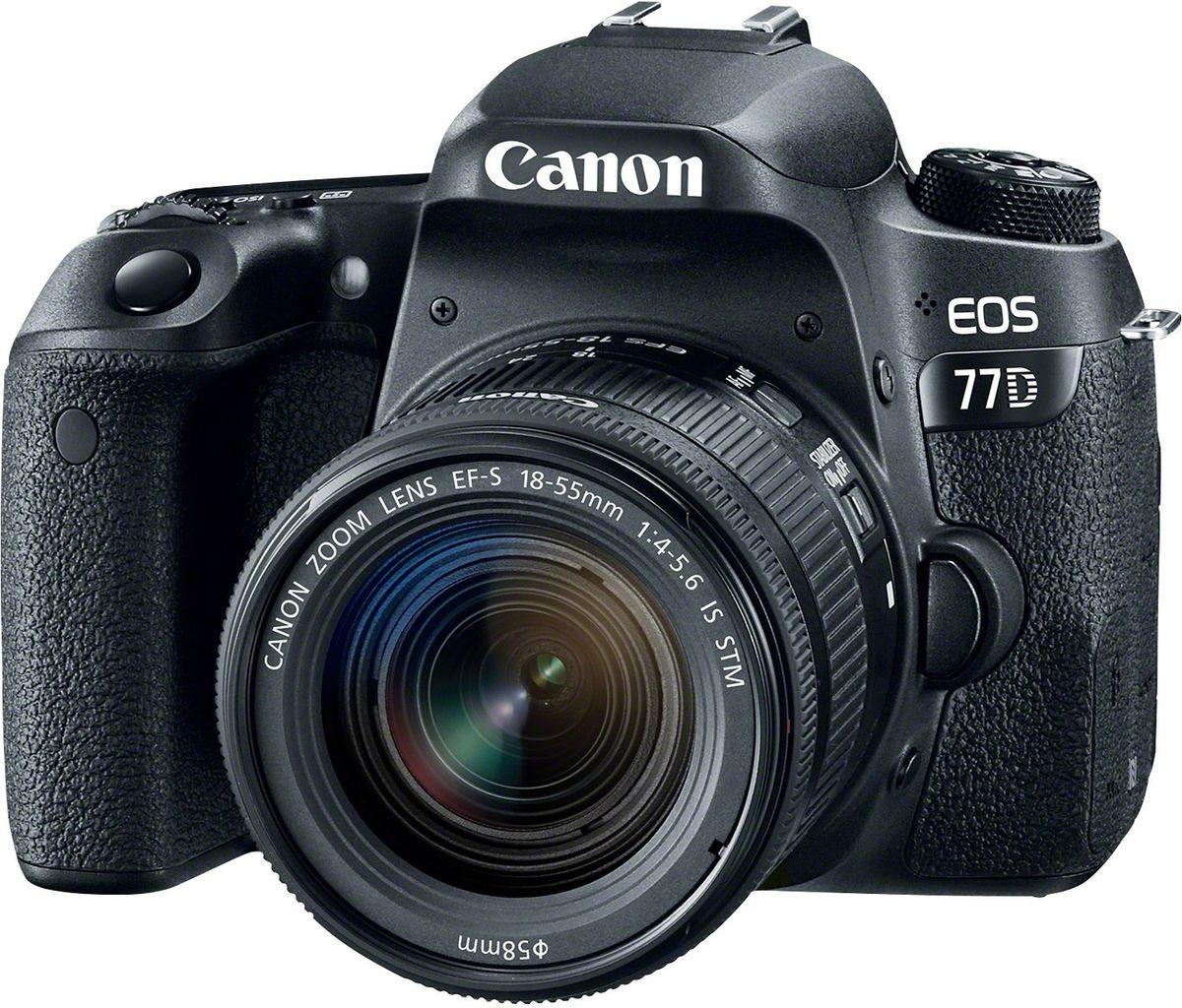 Canon EOS 77D Kit 18-55 IS STM цифровая зеркальная фотокамера1892C017Canon EOS 77D откроет вам новые творческие возможности в создании фотографий. Откройте для себя новые объекты и способы съемки. Современная система автофокусировки настраивает резкость именно там, где это необходимо, как при использовании оптического видоискателя, так и при использовании сенсорного экрана с высоким разрешением. Серийная съемка со скоростью до 6 кадров/сек. позволяет запечатлеть даже мимолетное выражение лица. Датчик изображения APS-C нового поколения позволяет создавать изображения с высокой детализацией даже в ярко освещенных и затененных местах. Самая быстрая в мире система автофокусировки в режиме Live View обеспечивает резкость изображений даже при съемке быстро движущихся объектов. Снимайте видео Full HD с кинематографическими эффектами малой глубины резкости и динамической передачей движения с частотой до 60 кадров/сек. Автофокусировка Dual Pixel CMOS AF сохраняет четкость объектов при изменении вашего положения, а встроенная...
