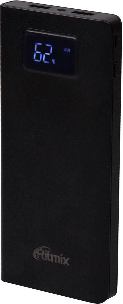 Ritmix RPB-15001P, Black внешний аккумулятор (15000 мАч)15118762Power bank Li-Polymer, тонкий 17 мм, емкость 15 000 мАч выход 2xUSB 5В 2,1А, фонарик + световой индикатор заряда, размер 167х73х17, 305 г, цвет: черный