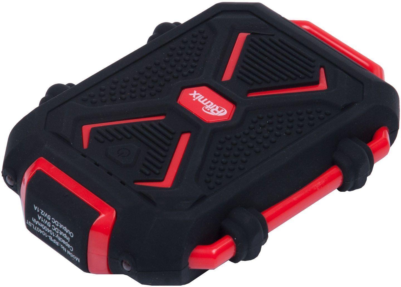 Ritmix RPB-10407LST, Black Red внешний аккумулятор (10400 мАч)15118763Travel Power bank ЭКСТРИМ, Li-Ion, EXTRA CLASS, оригинальная батарея, емкость 10 400 мАч выход 1xUSB 5В 2,1А, фонарик + световой индикатор заряда, влагозащищен, корпус силикон + пластик ABS, размер 131х90х27, 309г, цвет: черный с красным