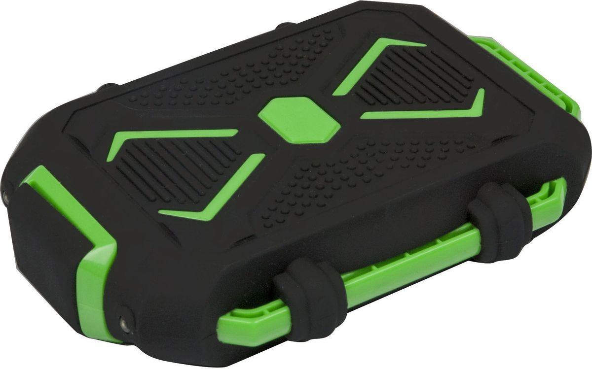 Ritmix RPB-10407LST, Black Green внешний аккумулятор (10400 мАч)15118764Travel Power bank ЭКСТРИМ, Li-Ion, EXTRA CLASS, оригинальная батарея, емкость 10 400 мАч, выход 1xUSB 5В 2,1А, фонарик + световой индикатор заряда, влагозащищен, корпус силикон + пластик ABS, размер 131х90х27, 309 г, цвет: черный с зеленым