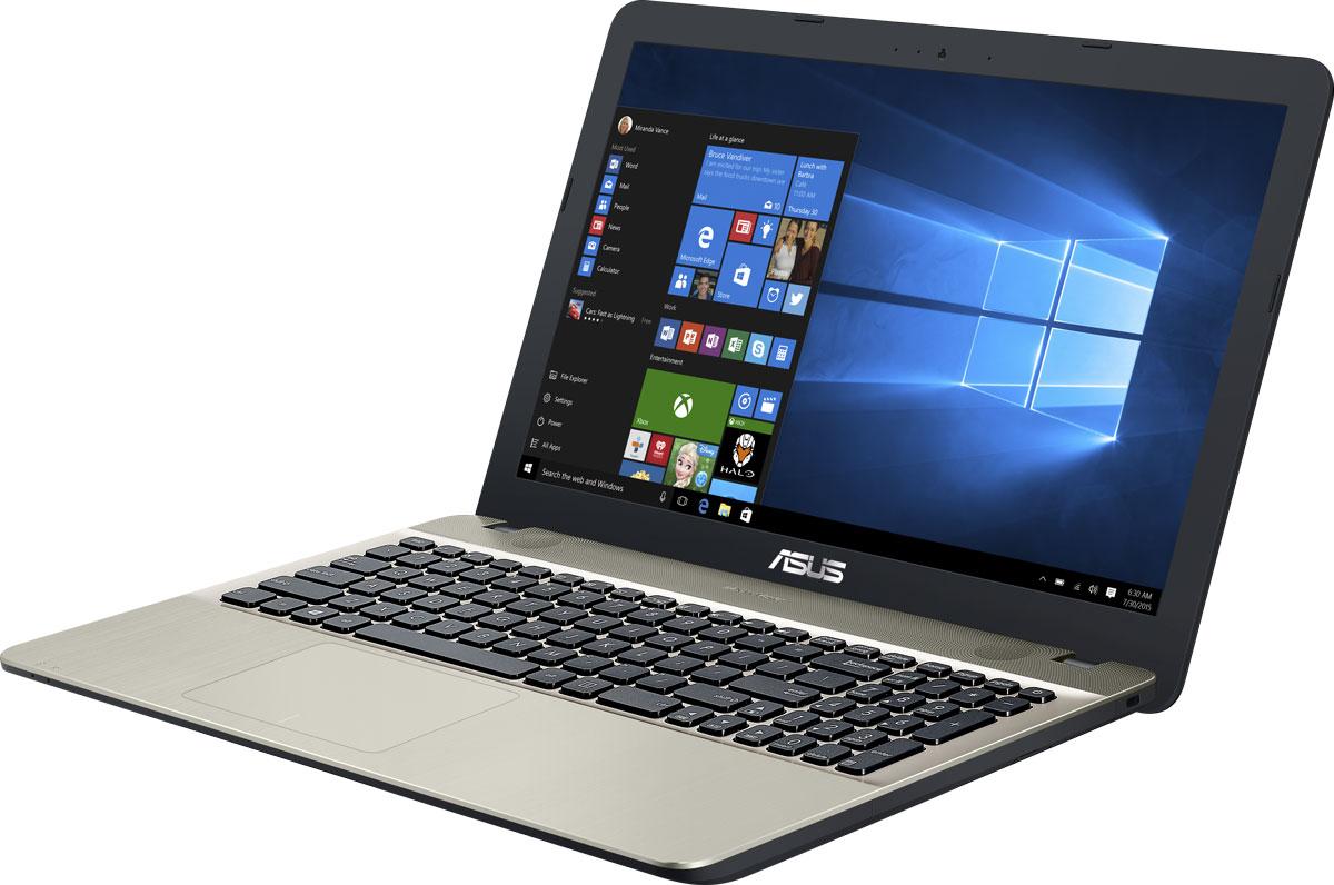 ASUS VivoBook Max X541SC, Chocolate Black (X541SC-XXO34T)90NB0CI1-M01260ASUS Vivobook Max X541SC - это современный ноутбук для ежедневного использования как дома, так и в офисе. В его аппаратную конфигурацию входит современный процессор Intel и 4 гигабайта оперативной памяти, которые обеспечат высокую скорость работы любых приложений.Для быстрого обмена данными с периферийными устройствами Vivobook Max X541SC предлагает высокоскоростной порт USB 3.1 (5 Гбит/с), выполненный в виде обратимого разъема Type-C. Его дополняют традиционные разъемы USB 2.0 и USB 3.0. В число доступных интерфейсов также входят HDMI и VGA, которые служат для подключения внешних мониторов или телевизоров, и разъем проводной сети RJ-45. Кроме того, у данной модели имеются кард-ридер формата SD/SDHC/SDXC.Благодаря эксклюзивной аудиотехнологии SonicMaster встроенная аудиосистема ноутбука Vivobook Max X541SC может похвастать мощным басом, широким динамическим диапазоном и точным позиционированием звуков в пространстве. Кроме того, ее звучание можно гибко настроить в зависимости от предпочтений пользователя и окружающей обстановки.Ноутбук Vivobook Max X541SC выполнен в прочном, но легком корпусе весом всего 1,9 кг, поэтому он не будет обременять своего владельца в дороге, а привлекательный дизайн и красивая отделка корпуса превращают его в современный, стильный аксессуар.Для комфортного чтения электронных книг и журналов в ASUS Vivobook Max X541SC реализуется специальный режим Eye Care, в котором уменьшается интенсивность света в синей составляющей видимого спектра.Эргономичная клавиатура этого ноутбука обладает полноразмерными клавишами, каждая из которых наделена оптимизированным сопротивлением нажатию. Ваши руки не устанут даже после долгой работы с текстом.Тачпад, которым оснащается модель X541SC, обладает большой сенсорной панелью и поддерживает множество различных жестов: скроллинг, масштабирование, перетаскивание и т.д. За их корректное и быстрое распознавание отвечает специальная технология