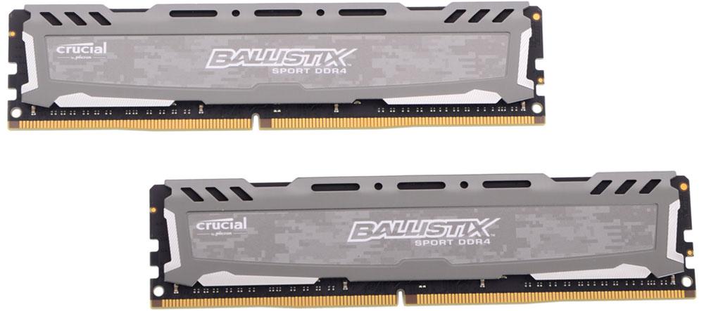 Crucial Ballistix Sport LT DDR4 32GB 2x16GB 2400МГц, Grey модуль оперативной памятиBLS2C16G4D240FSBКомплект модулей оперативной памяти Crucial Ballistix Sport LT типа DDR4 обеспечивает увеличенную рабочую частоту (по сравнению с предыдущем поколением) при сниженном тепловыделении и экономном энергопотреблении. Благодаря низкому напряжению (1,2 В), снижается потребление энергии, что обеспечивает отсутствие нагрева и бесшумную работу ПК. Теплоотвод выполнен из чистого алюминия, что ускоряет рассеяние тепла. Объем памяти 32 ГБ позволит свободно работать со стандартными, офисными и профессиональными ресурсоемкими программами, а также современными требовательными играми. Работа осуществляется при тактовой частоте 2400 МГц и пропускной способности, достигающей до 19200 Мб/с, что гарантирует качественную синхронизацию и быструю передачу данных, а также возможность выполнения множества действий в единицу времени. Параметры тайминга 16-16-16 гарантируют быструю работу системы. Имеется поддержка XMP 2.0 для удобного разгона в автоматическом режиме.